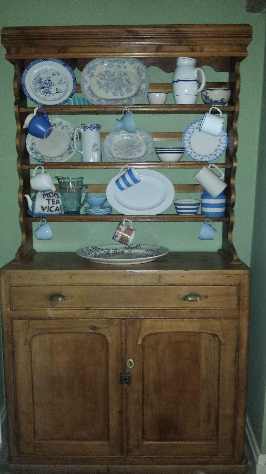 Antique Vintage Solid Wood Pine Irish Welsh Kitchen Dresser Rustic Plate Rack | eBay & Antique Vintage Solid Wood Pine Irish Welsh Kitchen Dresser Rustic ...