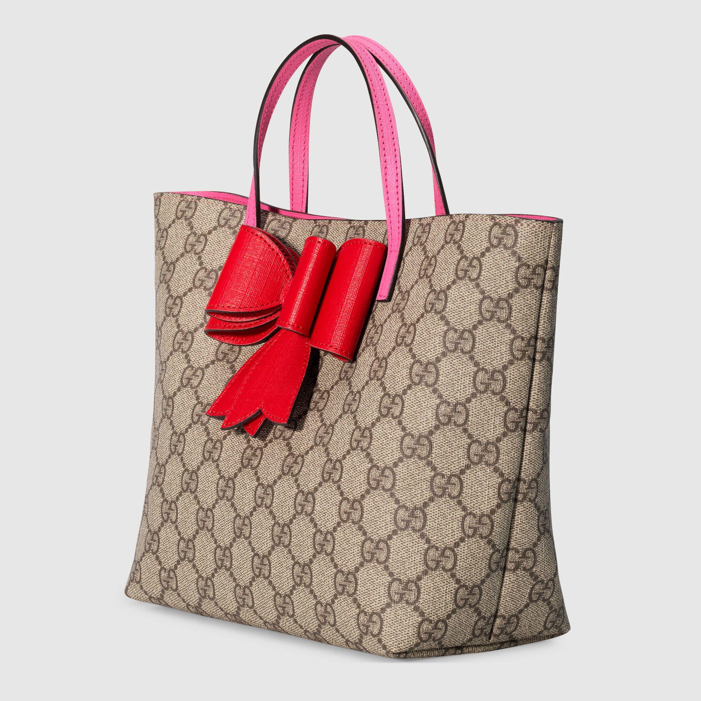 b7d3d5dd27b Children s GG Supreme bow tote - Gucci Children s Gifts 457232K6RTN8279