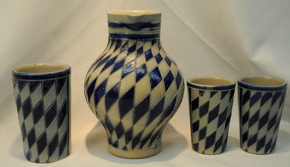 Reinhold Merkelbach German Salt Glaze 1 Liter Pitcher 3 Cups Cobalt Blue Diamond