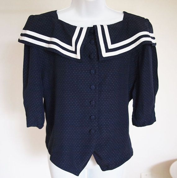 vtg 80's 90's // sailor collar top // navy & white by foxandrook, $22.00