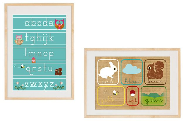 Originaldruck - Neu A3 Format - ABC lernen mit Waldtieren - ein Designerstück von VintagePaperGoods