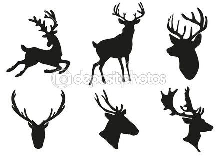 Deers Silhouette Stock Vector C Dmitriy Shironosov 11697612 Silhouette De Cerf Cerf Dessin Pochoir Silhouette