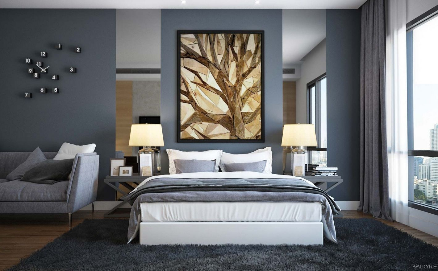Enchanting modern bedroom design in slate gray interior palette by valkyrie studio with lovely - Images of bed design ...