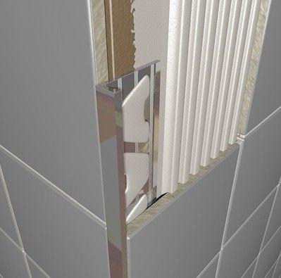 Tiled Shower Edge chrome plated brass square edge tile trim 2.5m | shower makeover