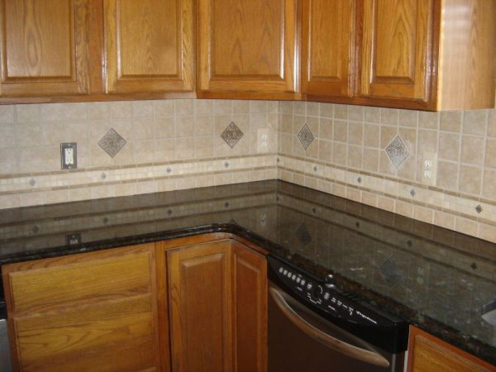 this is a nice ceramic tile backsplash pattern with a raised tile rh pinterest com Short Kitchen Backsplash Ideas Short Kitchen Backsplash Ideas