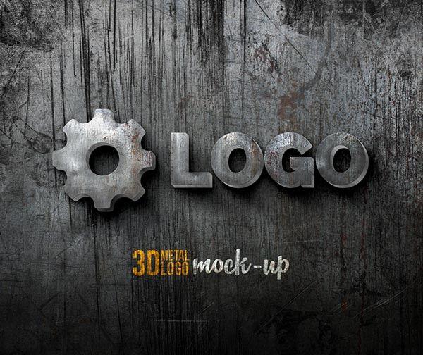 Free Psd 3d Metal Logo Mock Up Free Logo Mockup Psd Metallic Logo Logo Mockups Psd