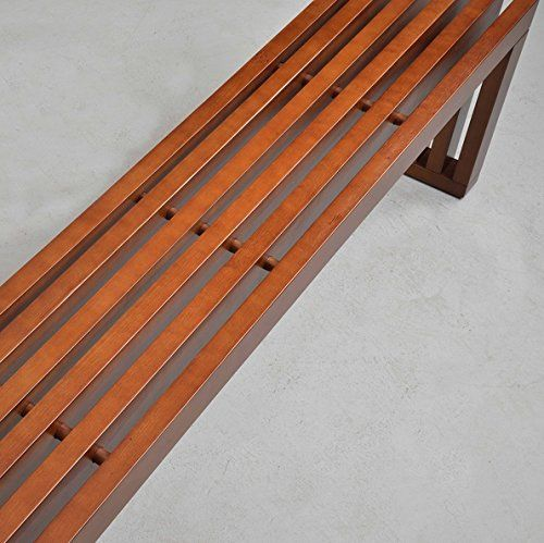 Amazon Com Slat Bench 60 Inch Walnut Finish Is Perfect As Entryway Sauna Contemporary Wood Benches Dining Room Bench Walnut Finish