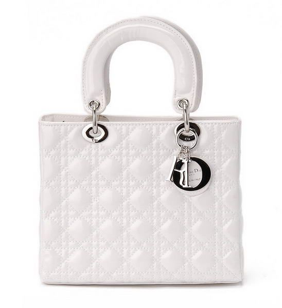 Dior White Patent Leather Mini Lady Bag Silver From Topbag