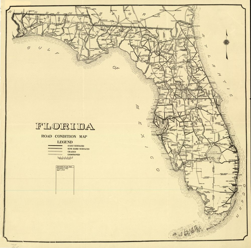 Map Of Plant City Florida.Florida Memory Florida Road Condition Map 1924 History Of Plant