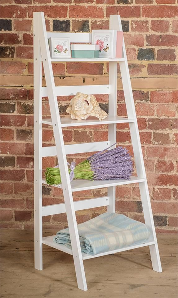 Ladder Book Shelf 4 Tier Bookcase Stand Free Standing
