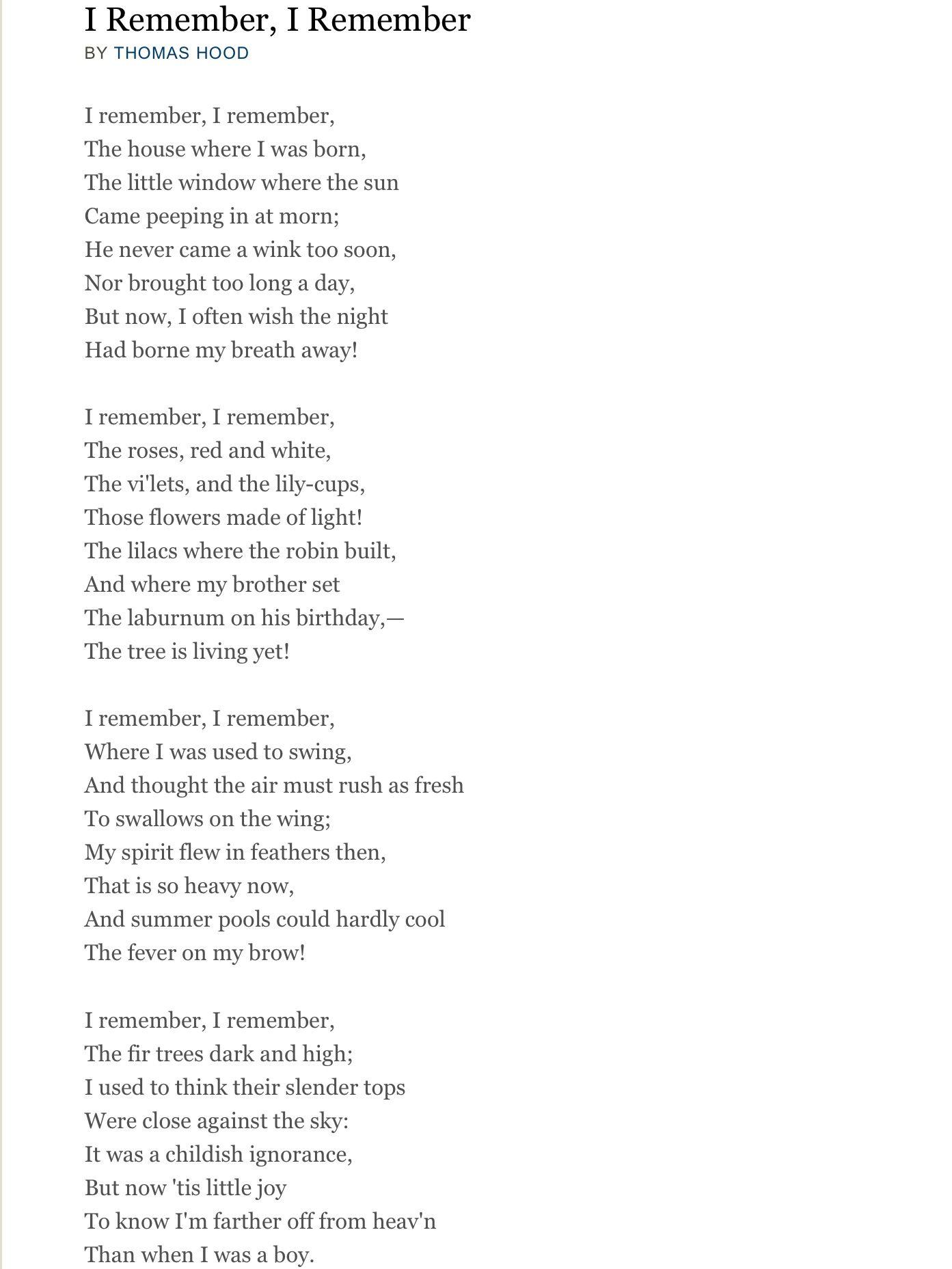 summary of the poem no by thomas hood