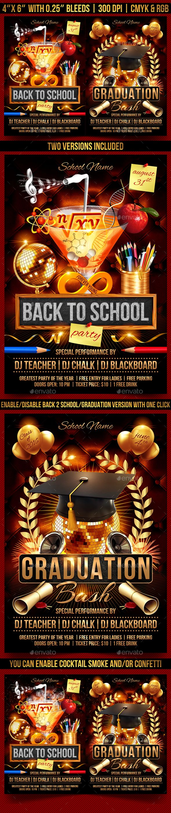 Back To School And Graduation Flyer  Flyer Template School And
