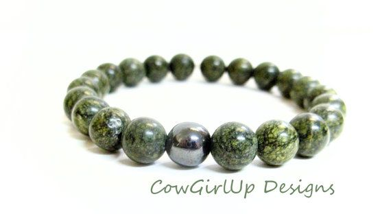 Green Lace Agate Mala Bracelet by CowGirlUpDesigns on Etsy, $23.00