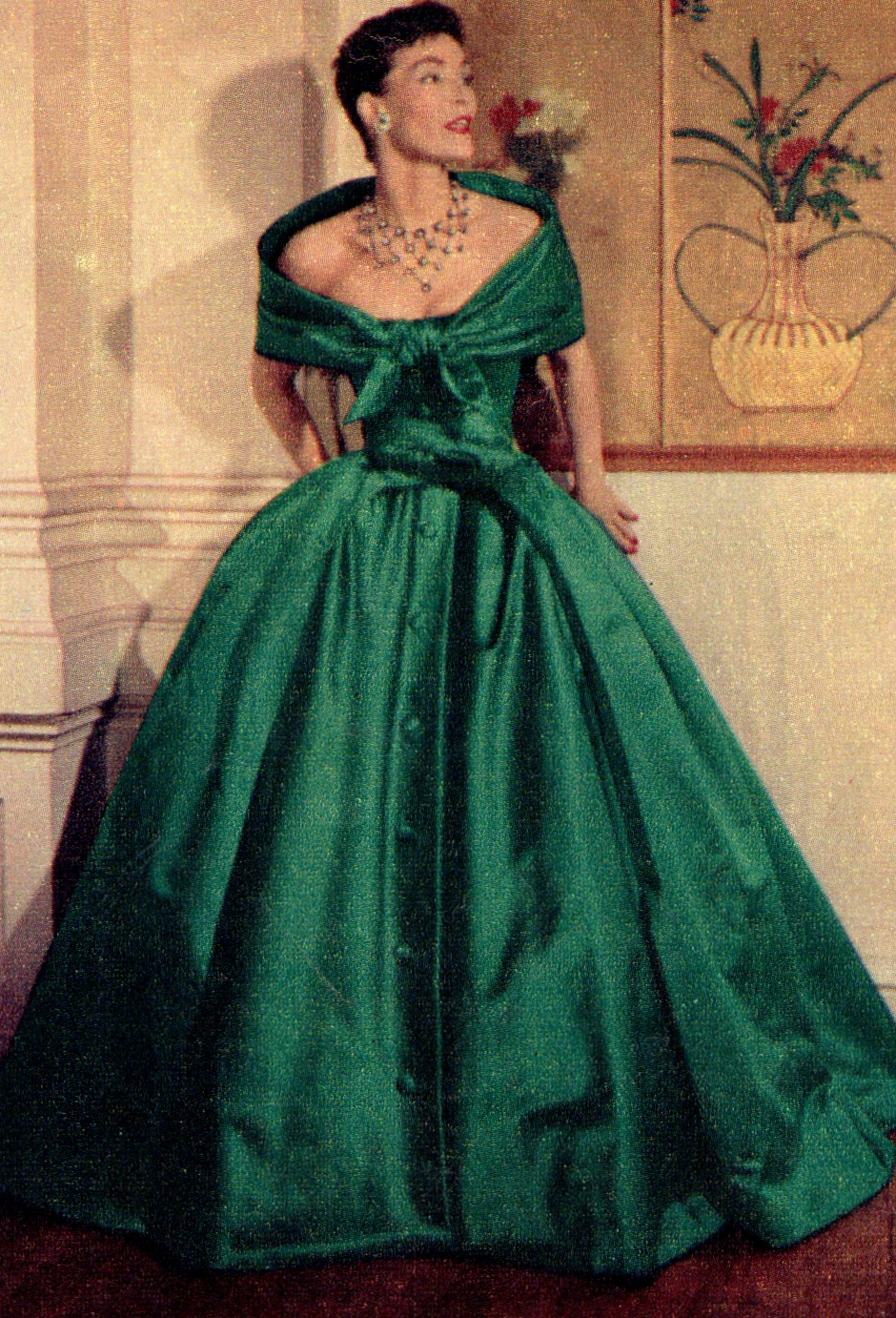 1950s Dreamy Dior gown in green satin. Vintage gowns