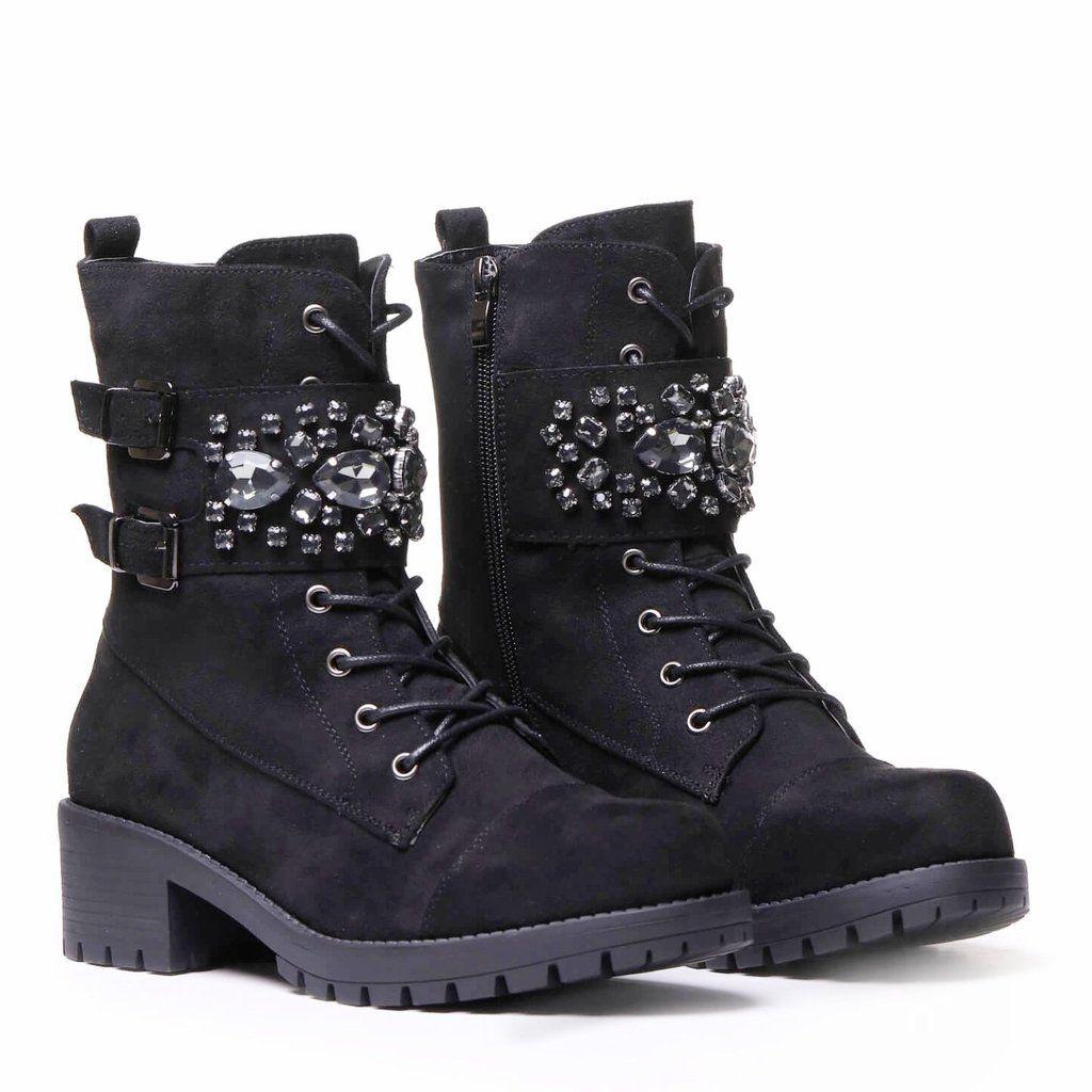 0e08e057bc0 Jewel Embellished Black Suede Biker Boots