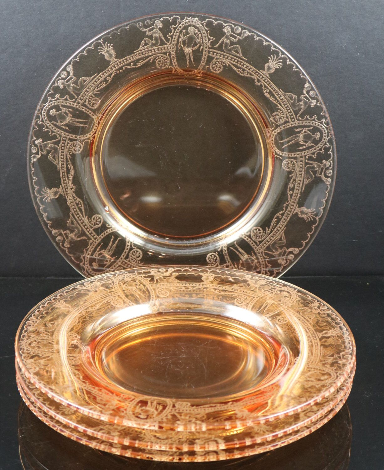 Set of 4 Vintage Bubble Girl Etch Amber 8.5 in. Elegant Depression Glass Plates Set No. 1 by greencreekfarm on Etsy ... & Set of 4 Vintage Bubble Girl Etch Amber 8.5 in. Elegant Depression ...