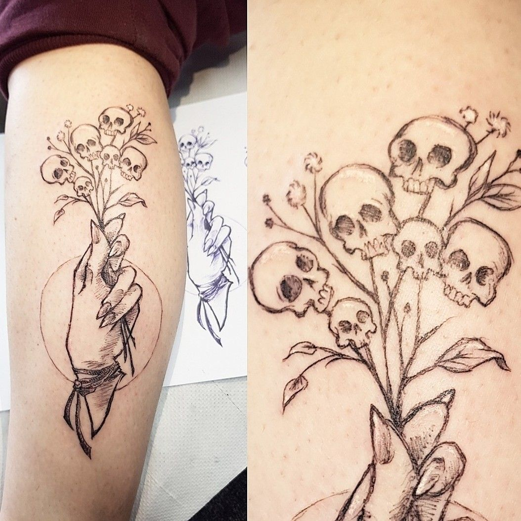Sketchy lady hand by Klaire Ader at Inky Needles in Birmingham uk #finelinetattoo #illustrativetattoo #sketchtattoo #ladyhand #skulltattoo #flowertattoo | By Klaire Ader | Done at Inky Needles | Apr 27th 2019 | 965059