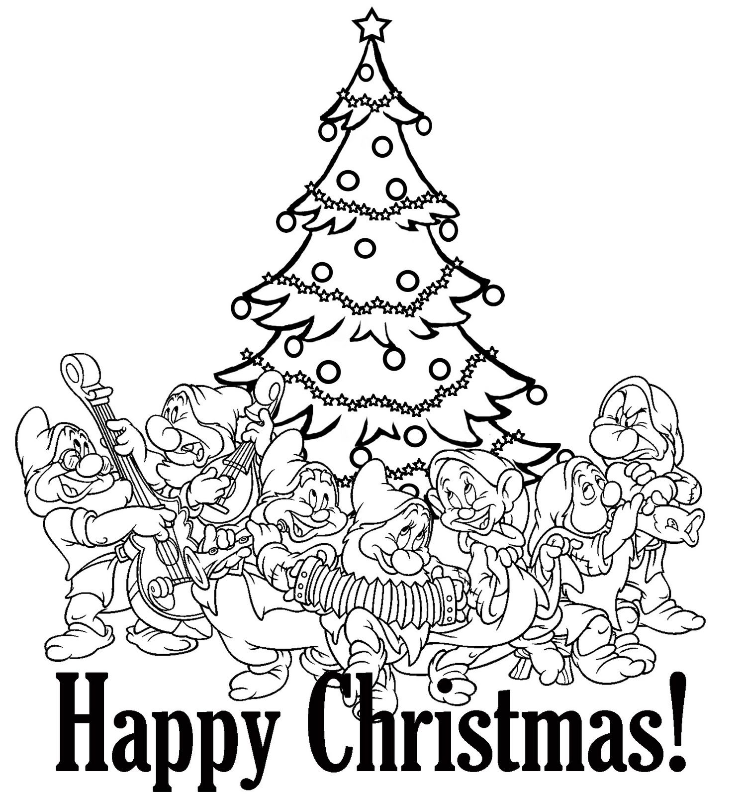 normal princess coloring pages | Snow White's seven dwarfs - Disney Christmas coloring page ...