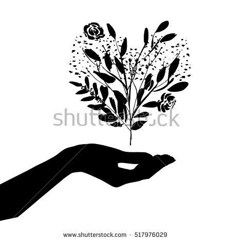 Vector illustration with hand, branches, leaves, flowers in a form of the heart