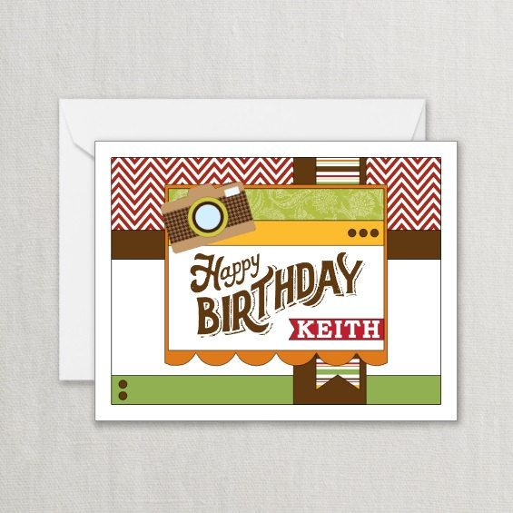 Happy Birthday Card Camera Hipster Masculine Personalized