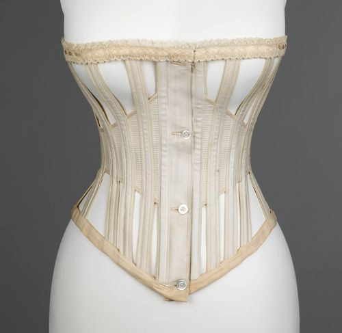"An 1871 ""ventilated"" corset designed for summer and sporting wear. In addition to the obvious openings the boning is cased in a light cotton rather than silk or coutil to allow for additional breath-ability."