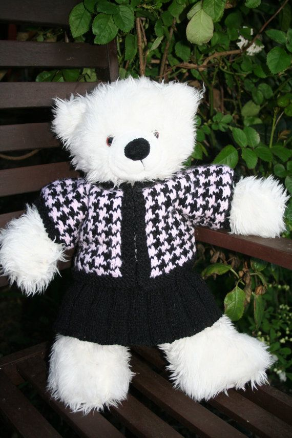 Hand Knitted 2 part Suit to fit Build a Bear   Teddy bear ...