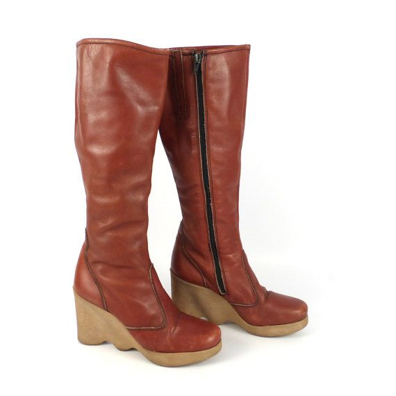 c3816cab5 Famolare Wedge Boots Shoes Vintage 1970s Brown Hi Up Leather Women's ...