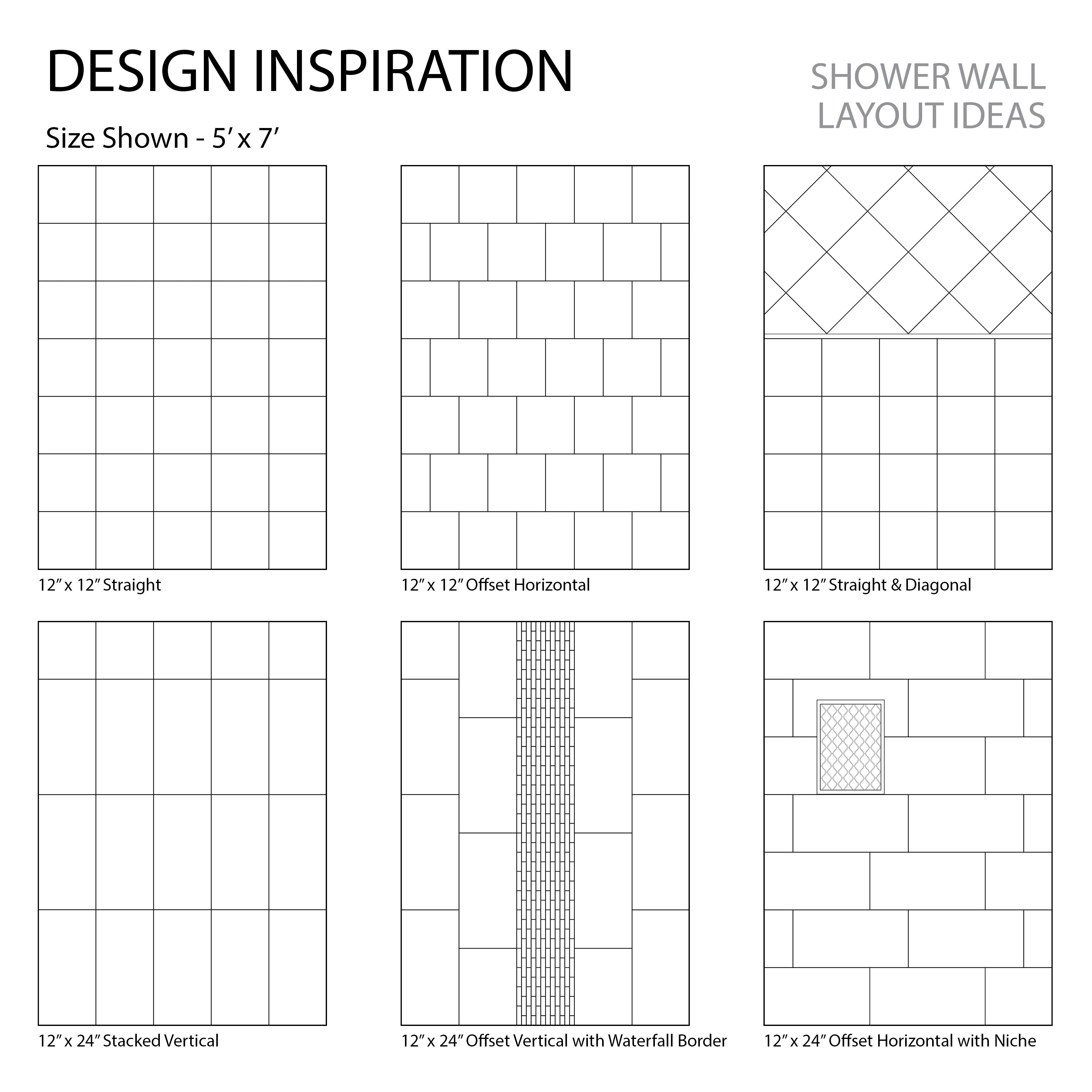 12 X 12 12 X 24 Shower Layout Inspiration Tile Layout Shower Tile Designs Shower Tile Patterns