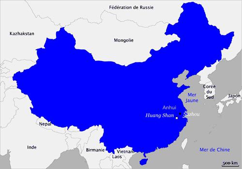 Huangshan Carte Chine.Carte De Chine Huang Shan Suzhou Les Montagnes Jaunes