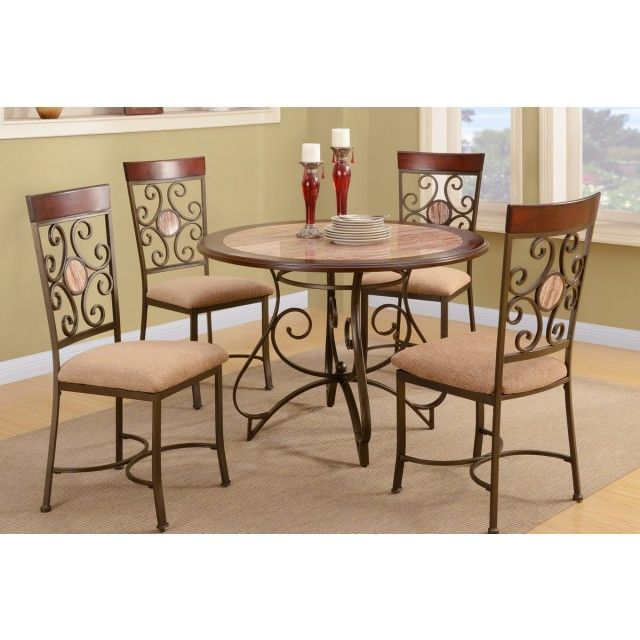 Amaury French Design Faux Marble Top Dining Table + 4 Chairs @ $349.00