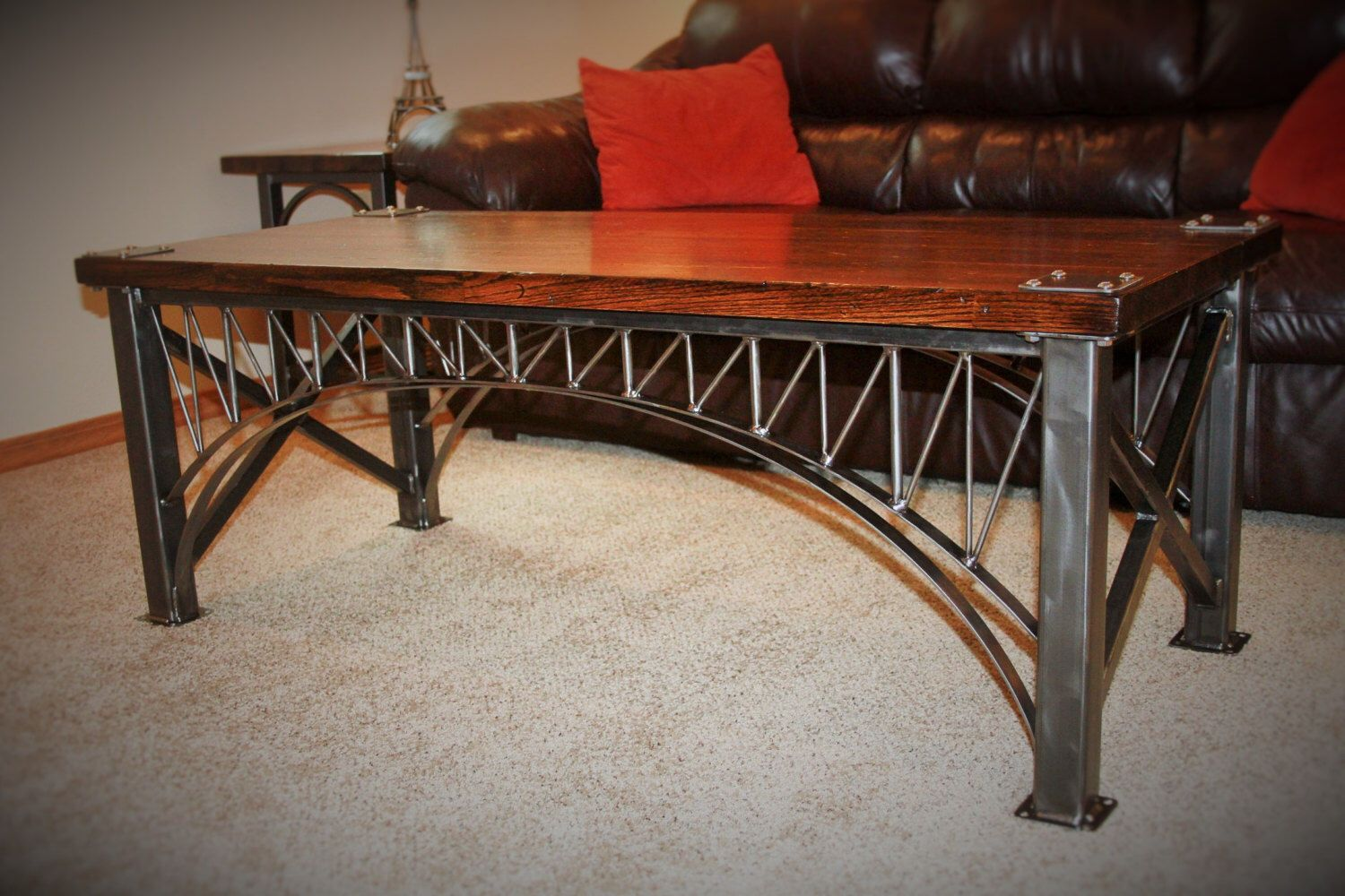 Unique hand crafted custom iron bridge welded steel hand unique hand crafted custom iron bridge welded steel hand distressed red oak coffee table by geotapseo Image collections