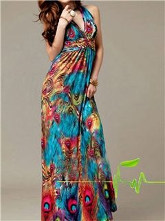 Ericdress Peacock Print Halt Deep V-Neck Maxi Dress