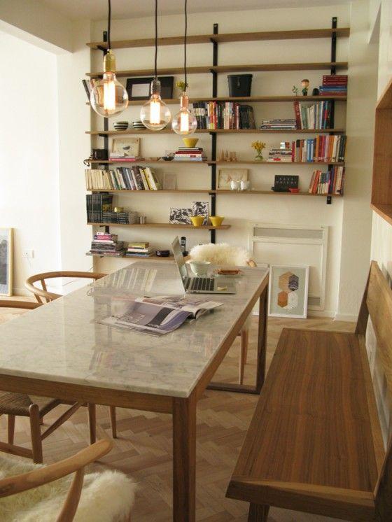 mesa tapa marmol patas madera restos de m rmol for the On mesas comedor diario cocina