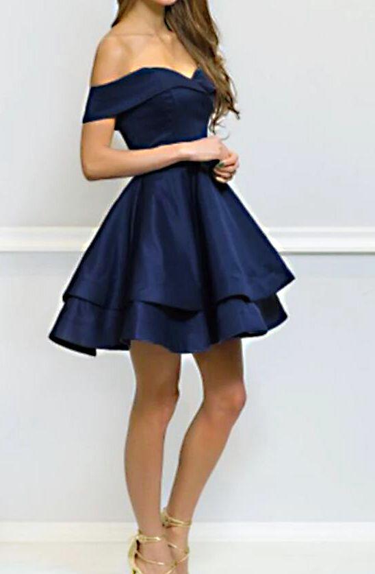 navy blue short homecoming dress junior 8th grade