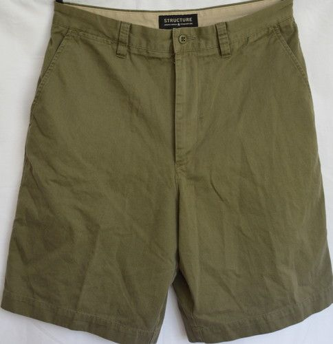 Mens Size 33 Structure Green Cotton Casual Shorts GUC