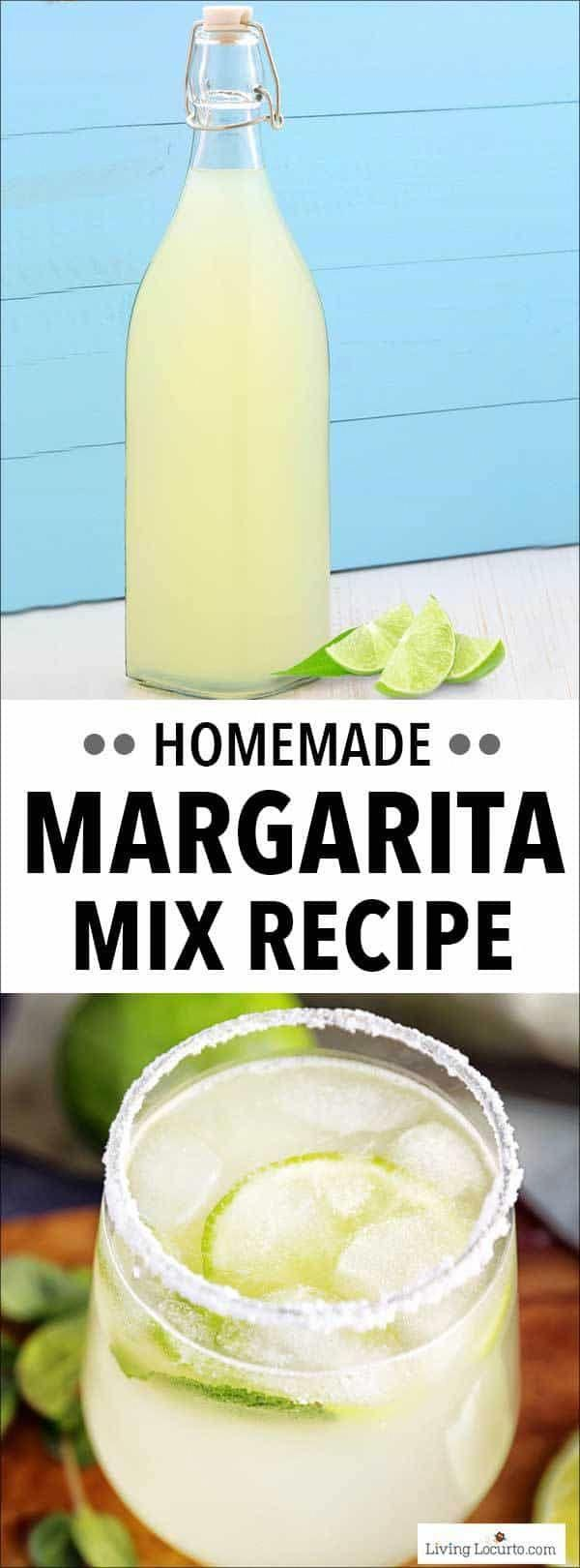 This Margarita Mix recipe is an easy homemade mix to make at home. Add tequila for a pitcher of margaritas or a margarita by the glass. This is a great cocktail recipe to make for your next party! #margarita #margaritamix #cocktail #drinks #drinkrecipe #recipes #partyfood #partydrink #cocktails #yummy #easyrecipes #partycocktailrecipes