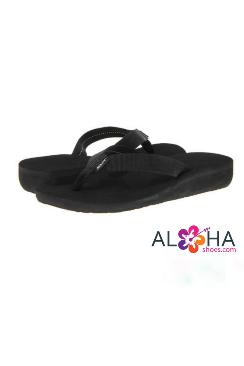 bbd2fb04b Scott Hawaii Women s Black Wedge Kahakai Flip Flop