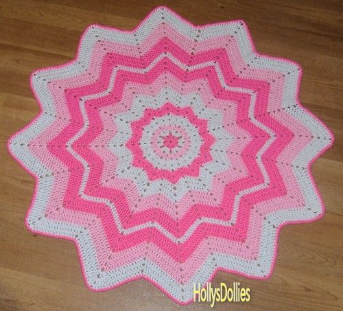 Crocheted Round Ripple Baby Blanket Shades Of Pink