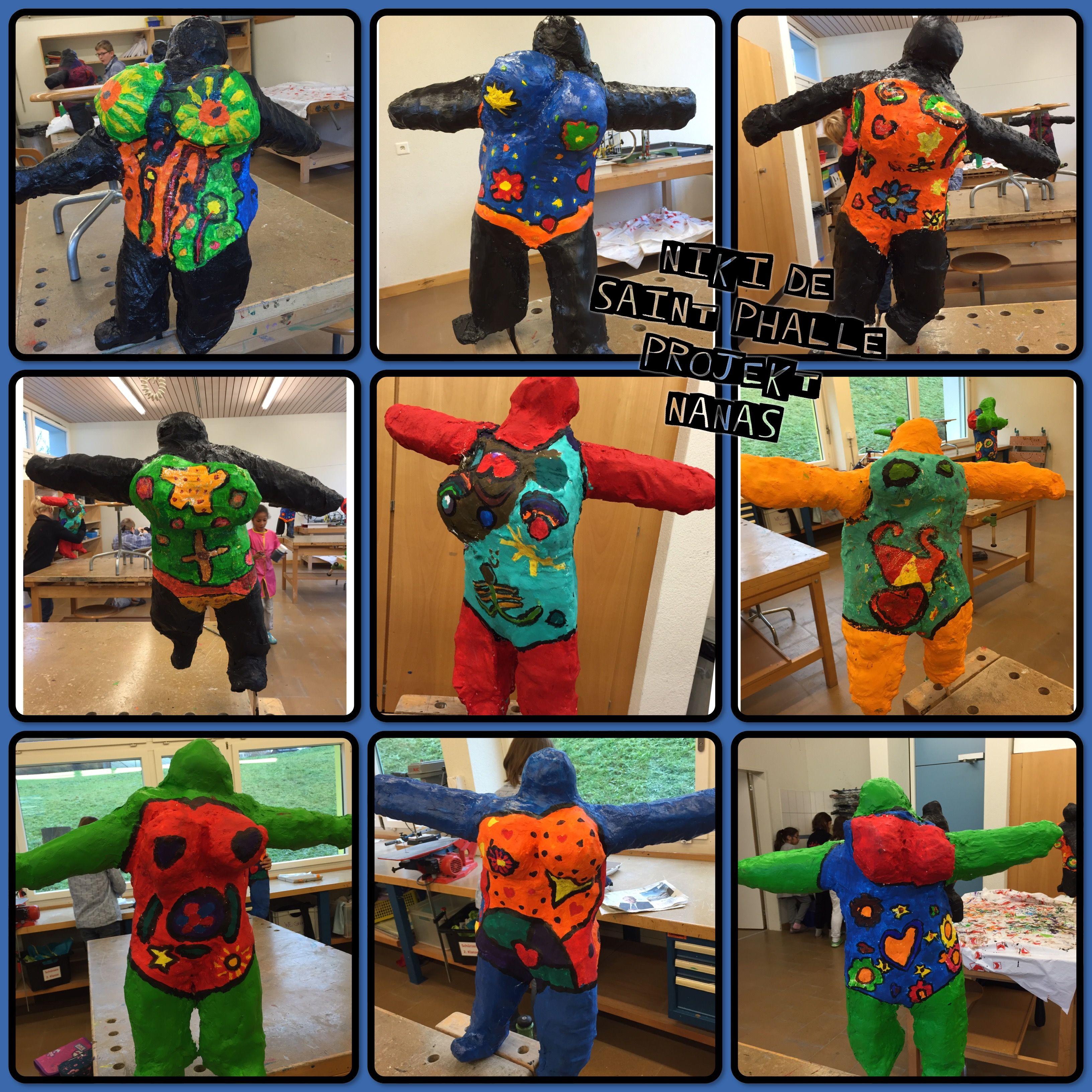 Nanas nach Niki de Saint Phalle hergestellt aus Gips und Drahtgeflecht. Werkarbeit