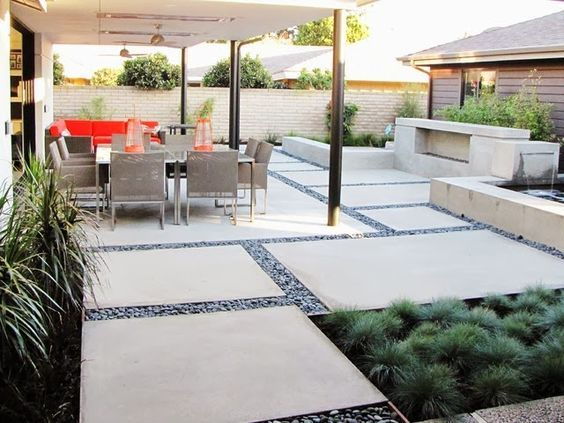 Extra Large Pavers Extra Large Cement Slabs With 1 Inch Black Large Backyard Landscaping Patio Design Backyard Patio