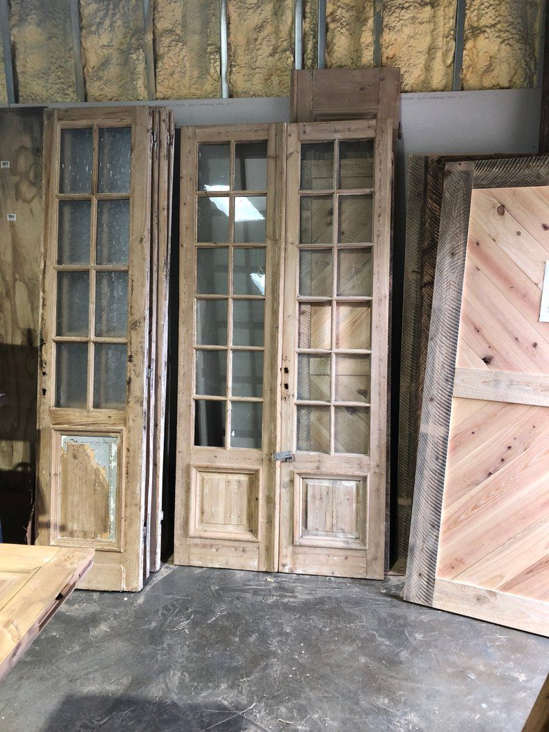 Antique Raised Panel Sliding French Doors With Glass Style 2 Etsy Sliding French Doors Antique French Doors French Doors Interior