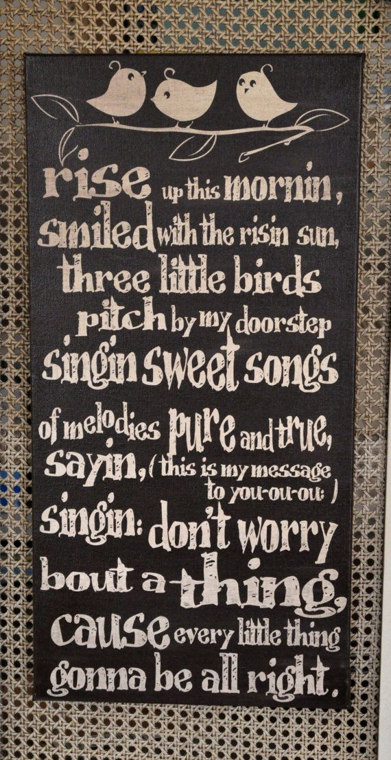 Three Little Birds Script Quote Song Lyric Print