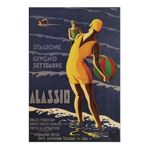 POSTER ALASSIO BEACH SUMMER SEASON ITALY TRAVEL TOURISM VINTAGE REPRO FREE S//H