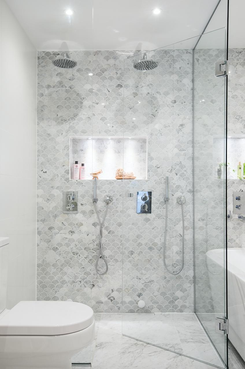 Marmor Bianco Carrara U Fish Scale Carrara Polished N E S T Bathroom Condo Bathroom