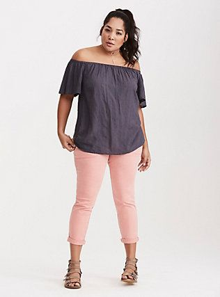 Plus Size Embroidered Off Shoulder Blouse, NINE IRON