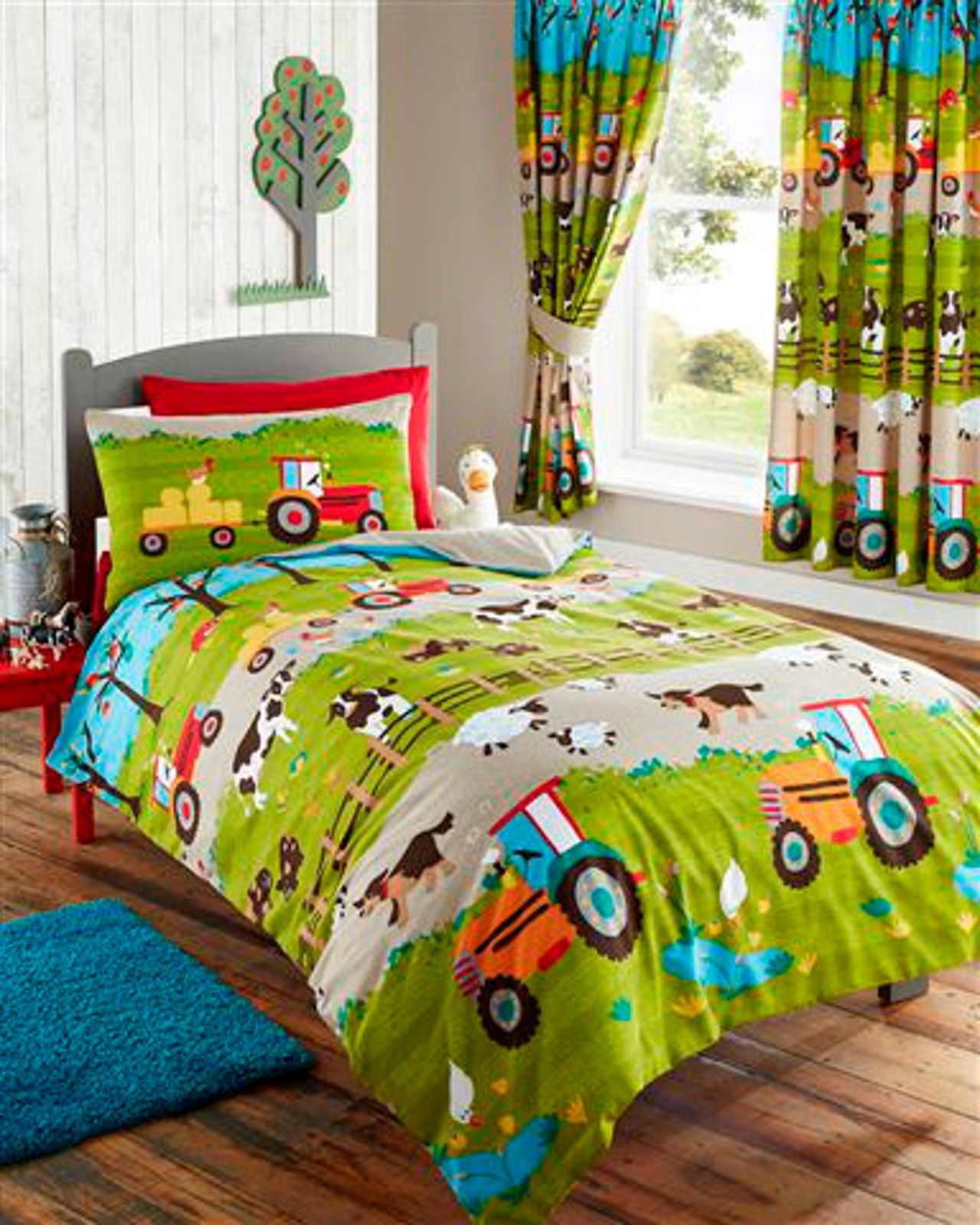 Kids Bedroom Linen farm animals tractor kids duvet cover or matching curtains bedding