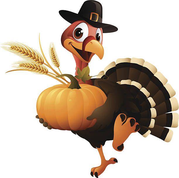 Cartoon Graphics Of Pilgrim Turkey Holding Pumpkin And Wheat Thanksgiving Drawings Thanksgiving Art Happy Thanksgiving Clipart