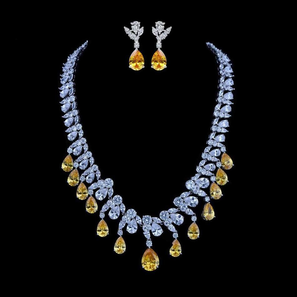 Romantic fashion water drop shape yellow zircon necklace and