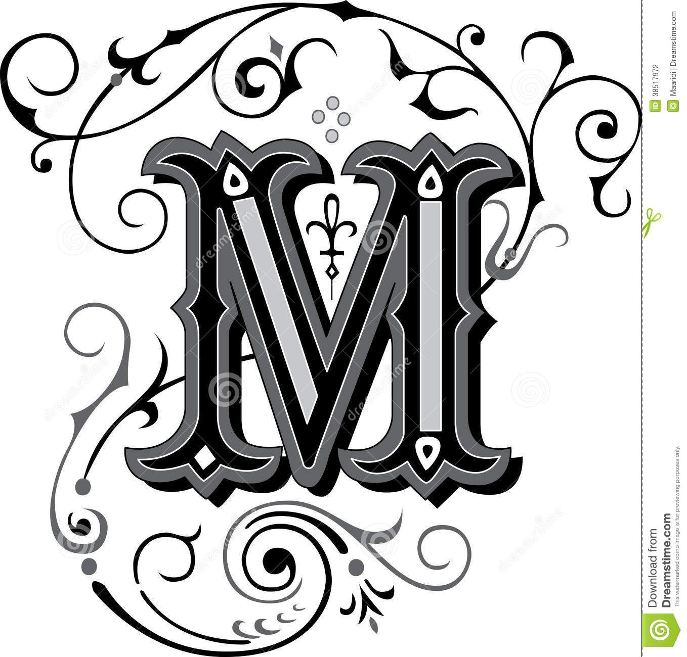 beautiful ornament letter m stock photography image 38517972