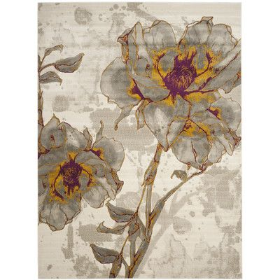 "Alcott Hill Daphne Ivory/Gray Area Rug Rug Size: 8'2"" x 11'"